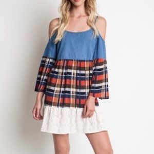 Umgee Plaid Chambray Lace Tier Cold Shoulder Dress